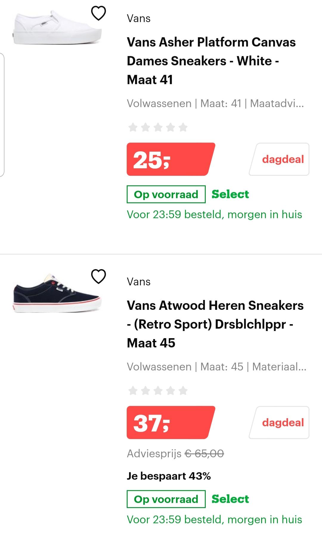 Korting op sneakers van Nike en Vans - Dagdeal @ Bol.com