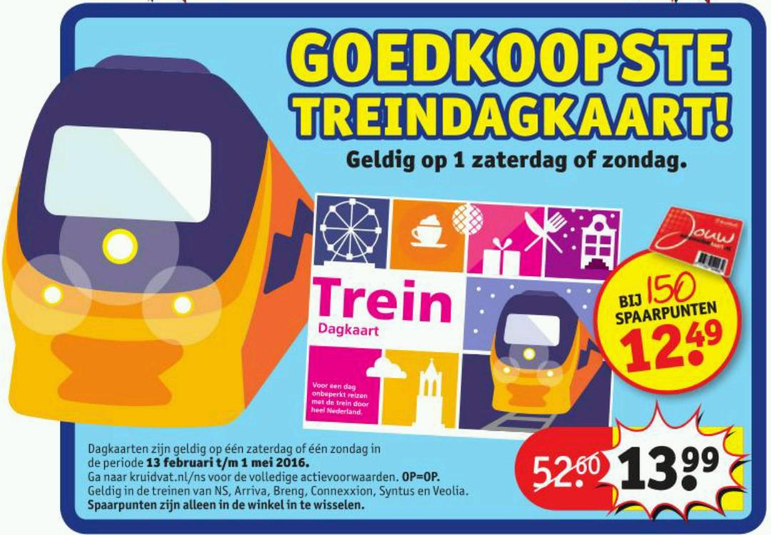 Kruidvat NS trein dagkaart voor €13,99 @ Kruidvat (vanaf maandag)