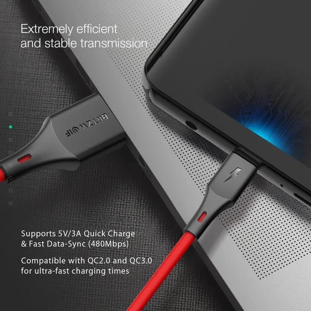 5-pack BlitzWolf® BW-TC15 3A USB Type-C kabels 1.8M voor €8,15 @ Banggood
