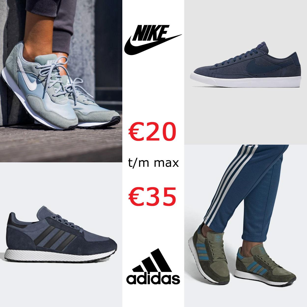 Nike + adidas sneakers €20 tot €35 + kans op EXTRA korting