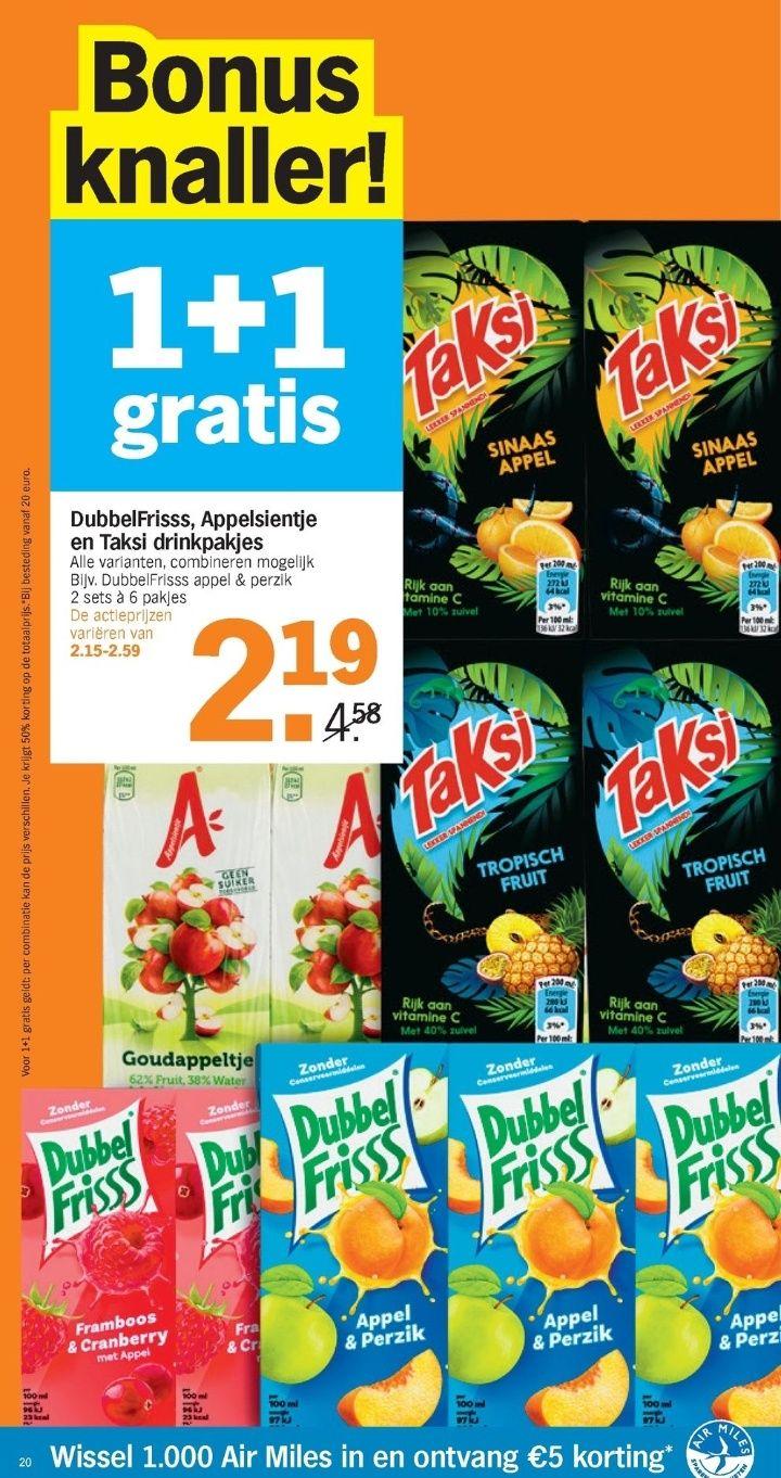 1 + 1 gratis Appelsientje, dubbel fris en Taksi bij de Appie