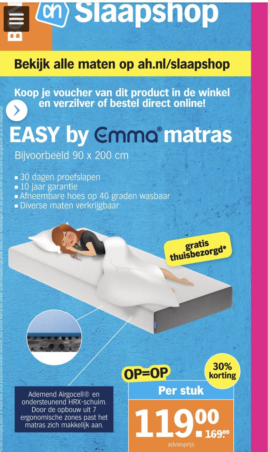 30% korting op Emma Matras bij AH (meerdere maten)