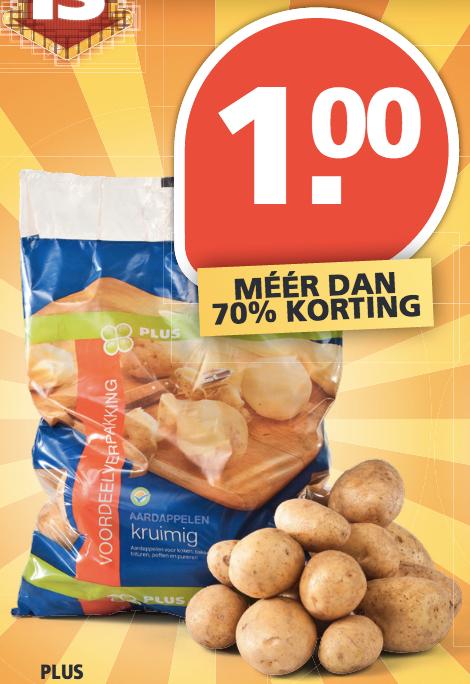 5 kilo kruimige aardappelen voor 1 Euro bij Plus! (alleen woensdag)