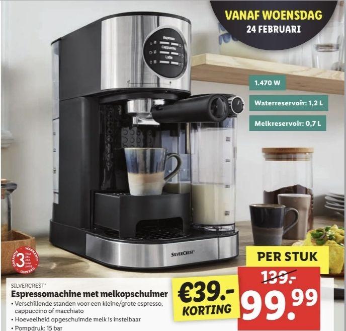 Silvercrest espressomachine met melkopschuimer