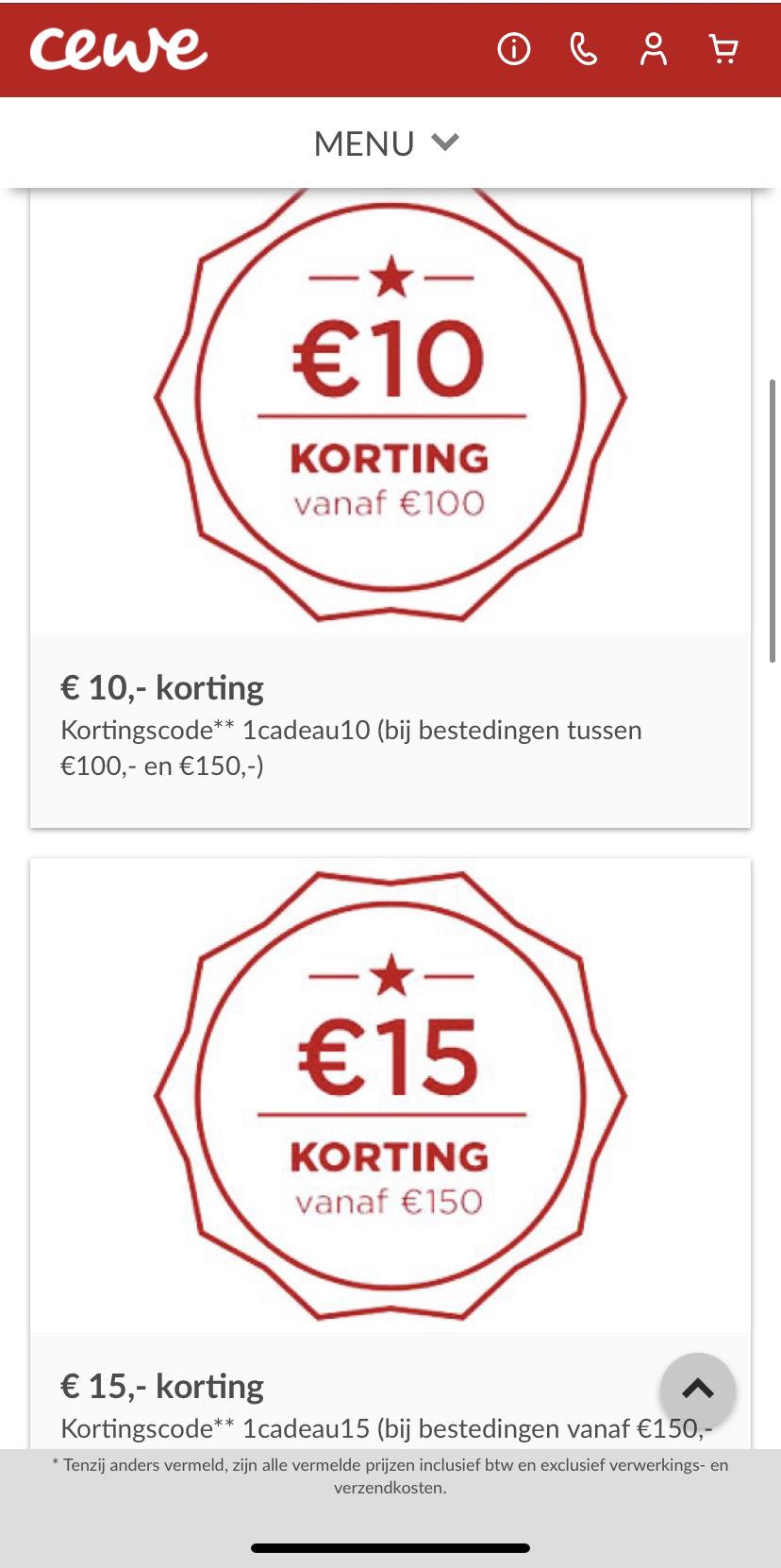 CEWE kortingscode - maximaal €15 bij besteding van minimaal €100