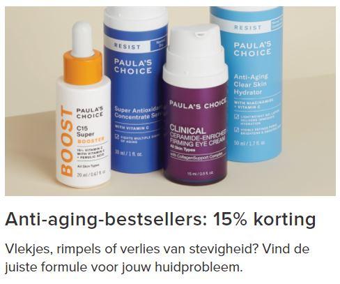 15% korting op anti-aging-bestsellers + €5 extra [va €25] @ Paula's Choice