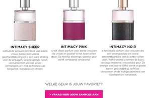 Gratis 3 Intimacy samples, van de geuren Sheer, Pink en Noir @ ICI Paris XL