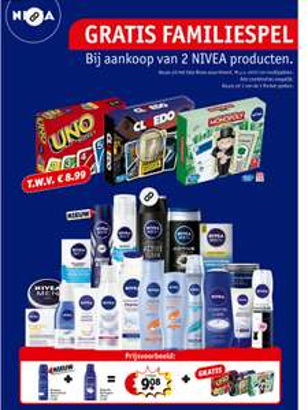 Gratis kaartspel (Uno, Cluedo of Monopoly) bij twee Nivea producten (€1,98) @ Kruidvat