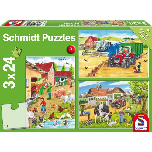 3x24 stukjes Op de boerderij - Schmidt Puzzle @Amazon