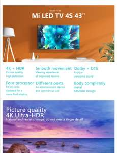 Xiaomi Mi TV 4S 43 Inch Voice Control 5G WIFI bluetooth 4.2 4K HD Android Smart Netflix Prime Video EU shipping