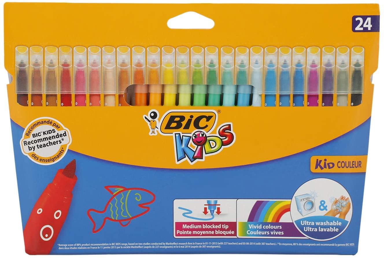 BIC Kid Couleur - 24 viltstiften (op waterbasis/uitwasbare inkt) @ Amazon.nl