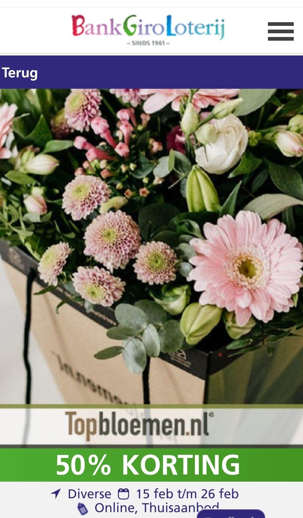 Topbloemen 30 euro tegoed voor 12,50 via Bankgiroloterij VIP