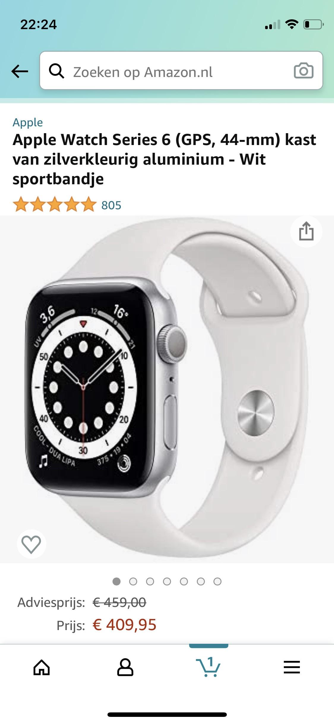 Apple Watch Series 6 44mm Zilver (ook andere kleuren en maten beschikbaar)
