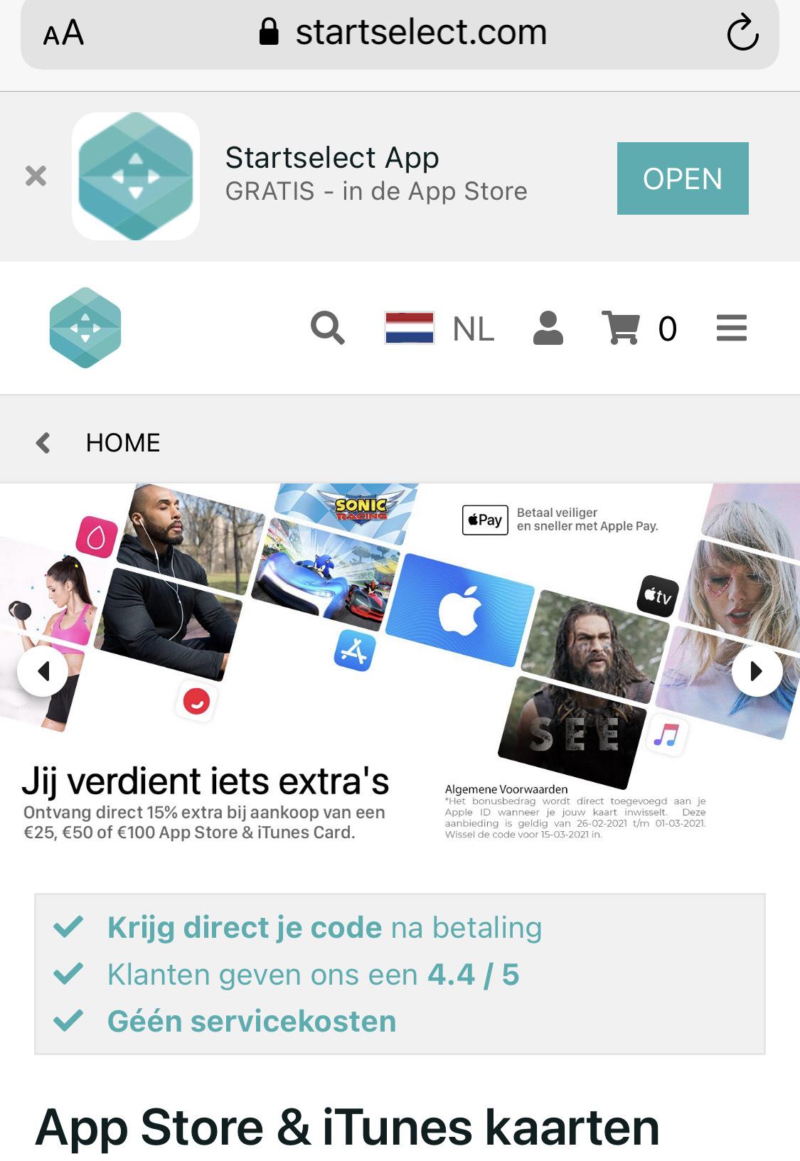 15% extra AppStore tegoed Startselect