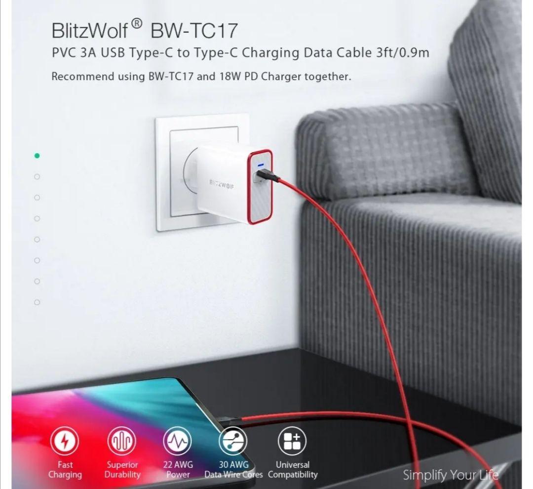 3 pack BlitzWolf kabels 3AUSB 2.0 Type-C to Type-c 0,9m snelladen