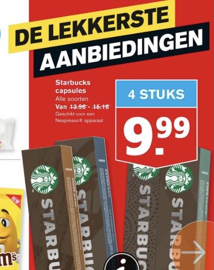 Starbucks capsules 4st voor €9,99 @Hoogvliet