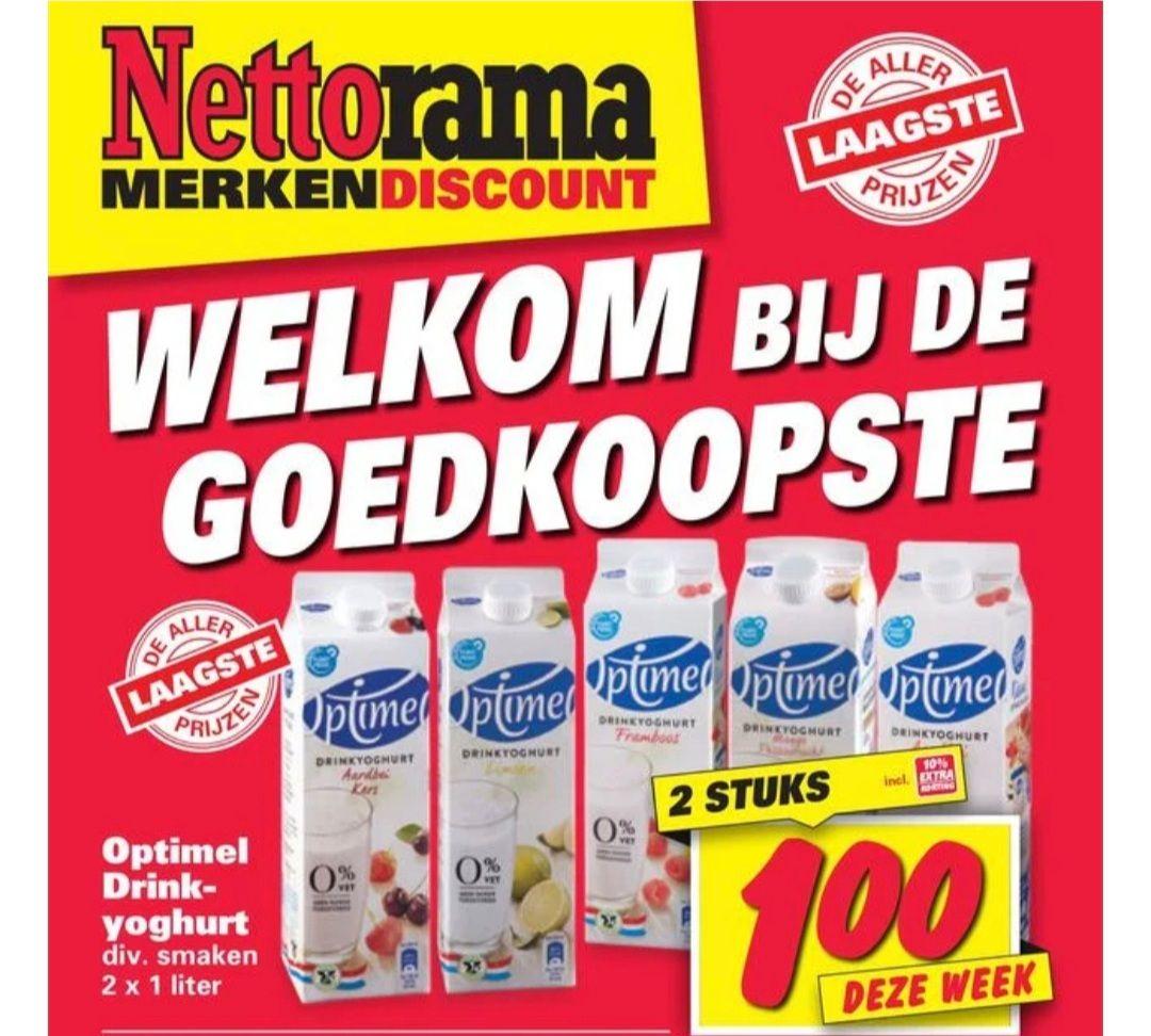 2 pakken optimel drinkyoghurt 1 euro! @nettorama