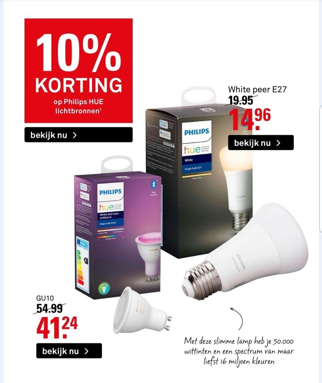 Hue colour gu10 & Hue E27 white 25% korting