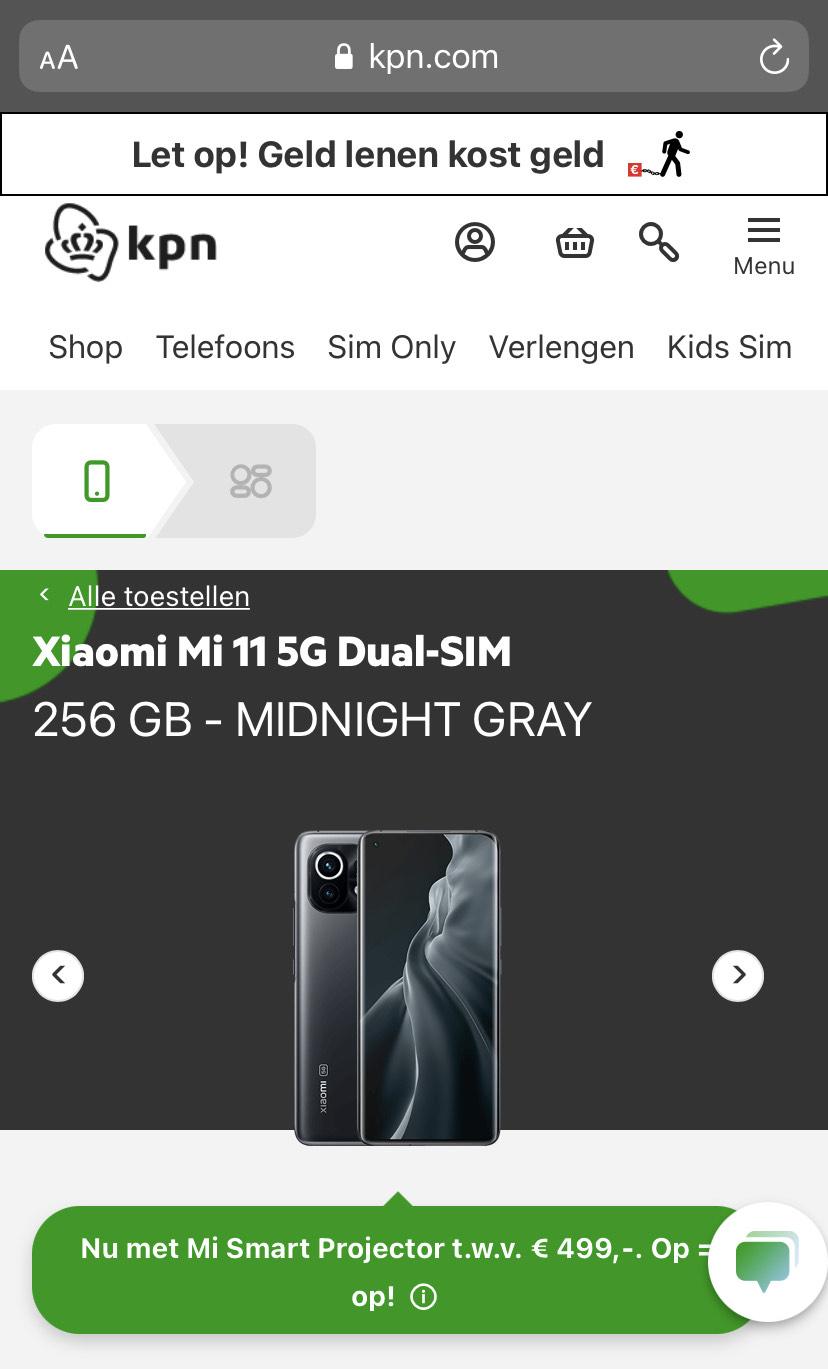 PreOrder een Xiaomi M11 256GB en krijg een beamer kado! (en Cashback!)