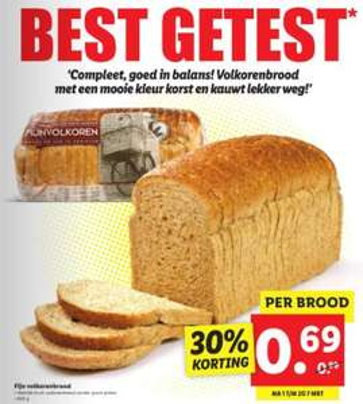 Kassa's best geteste fijn volkorenbrood €0,69 @ Lidl