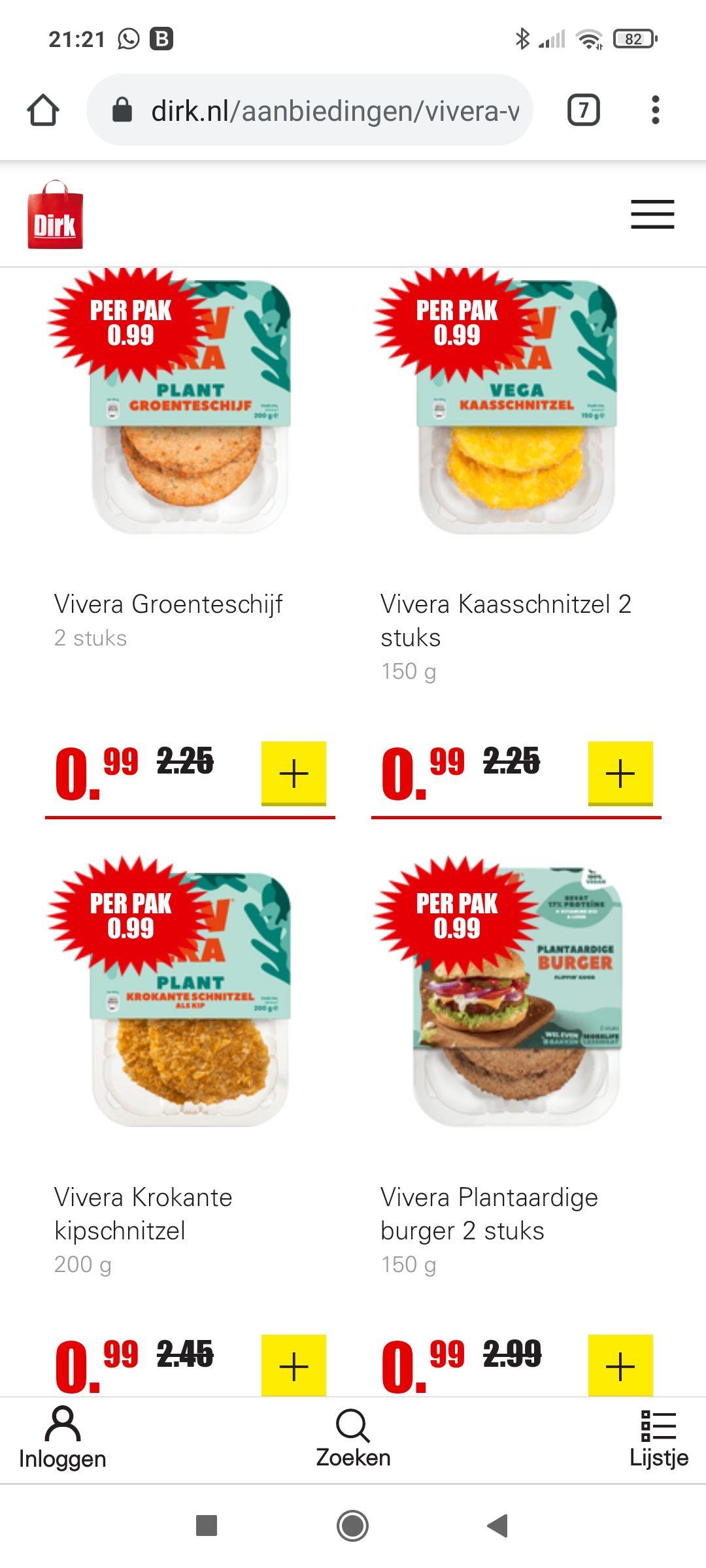 Vivera vleesvervangers 0,99 euro.