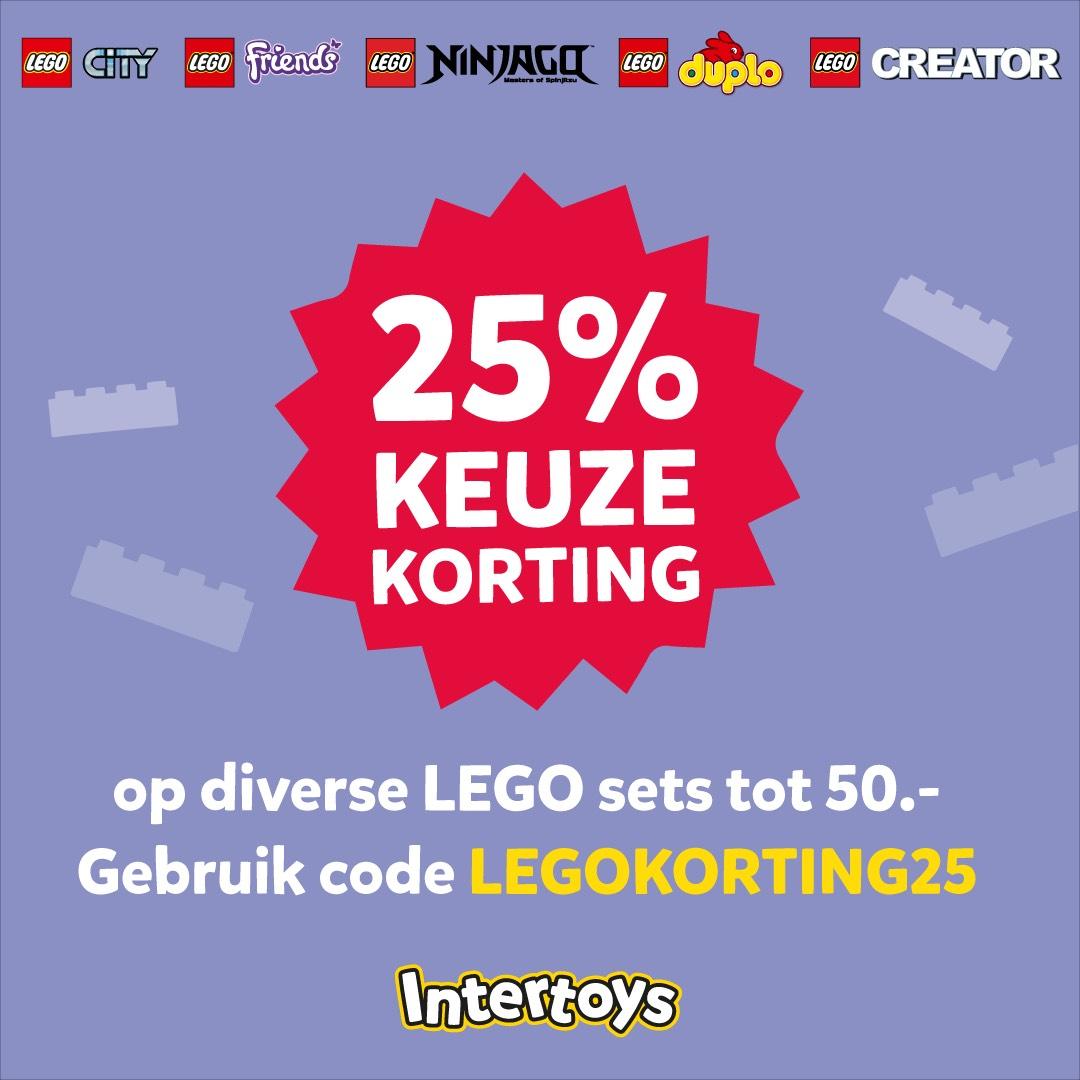 25 % korting op veel Lego sets tot 50,-