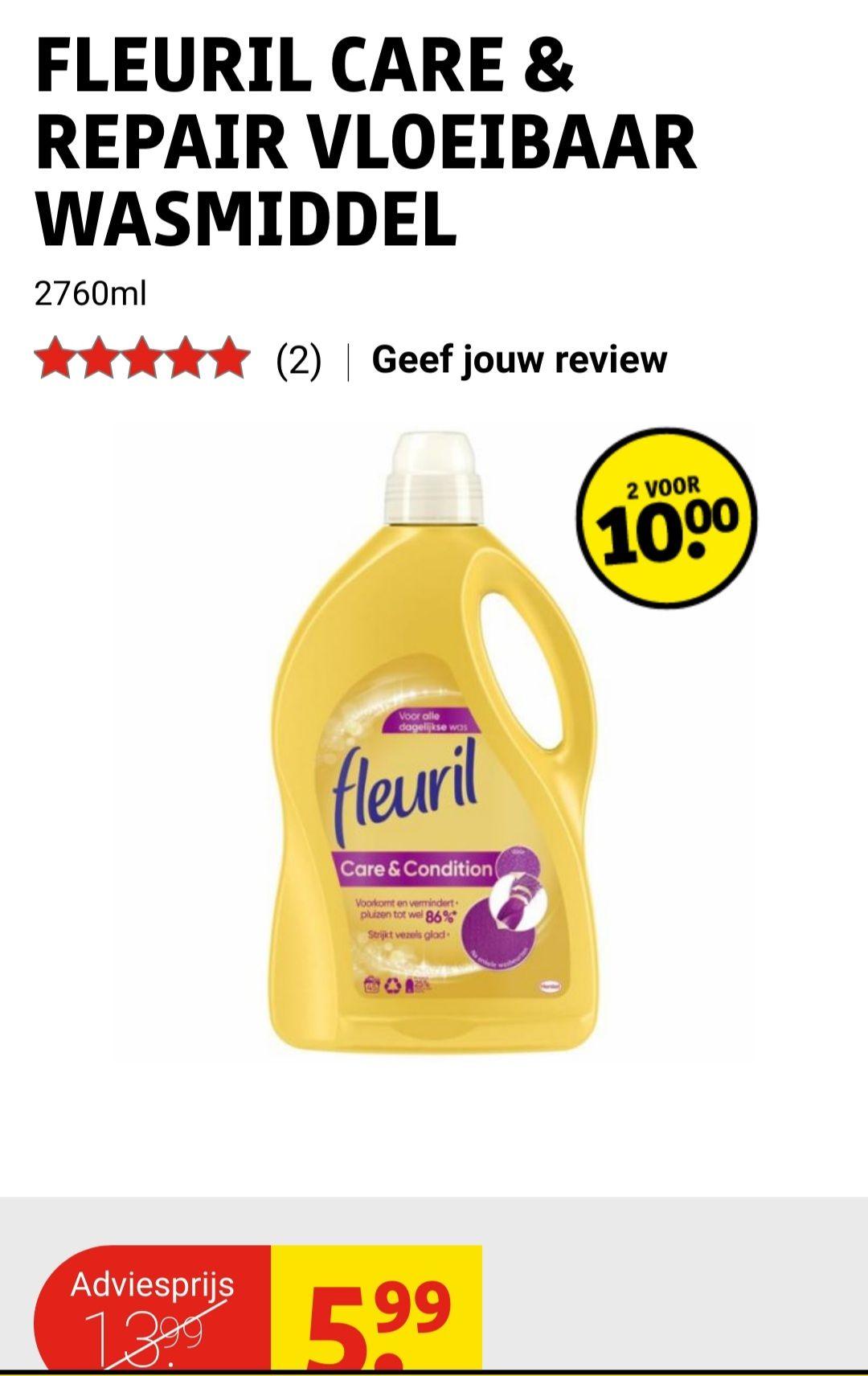 Fleuril wasmiddel 2 voor €10,-