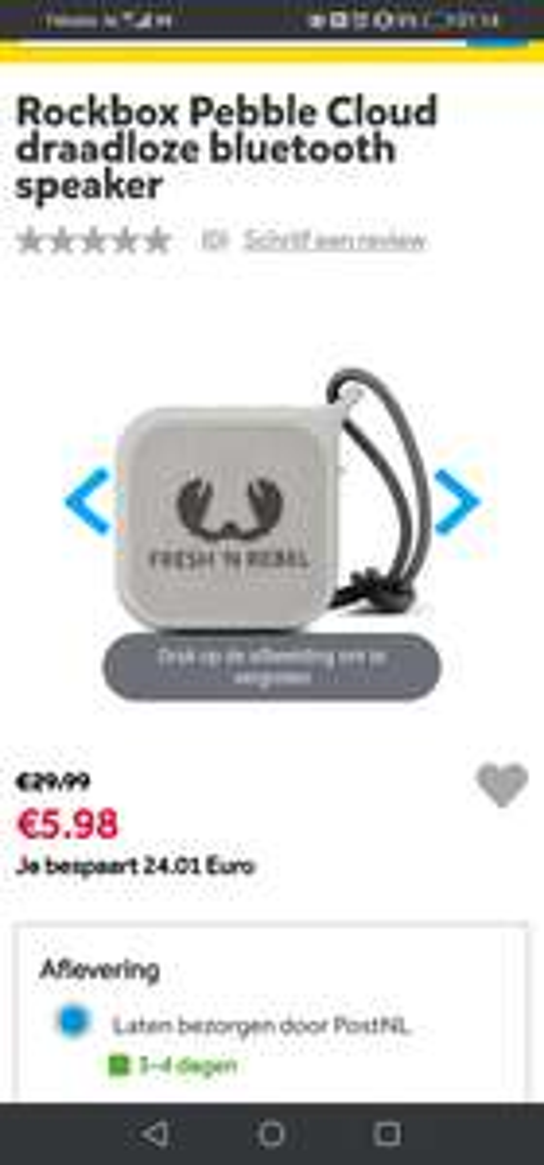 (Intertoys) Fresh 'n Rebel Rockbox Pebble Cloud draadloze bluetooth speaker