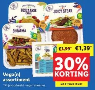 30% korting op het vegetarische & vegan assortiment @ Lidl