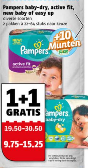 1+1 gratis op Pampers @ Poiesz