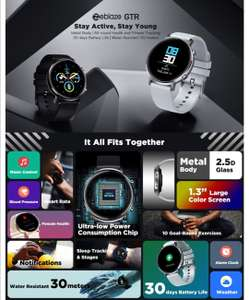 Zeblaze GTR 1.3'' Full Touch Curved Screen bluetooth 5.1 Heart Rate Blood Pressure Monitor Female Cycle Tracker Smart Watch