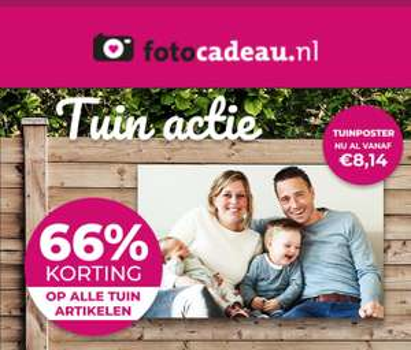 Fotocadeau.nl nu 66% korting op tuinartikelen