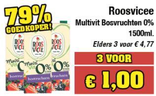 Budget-Food knallers week 10: €1 voor 4,5L Roosvicee Multivit Bosvruchten 0% suiker