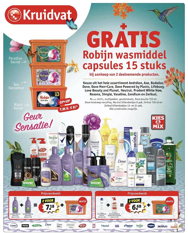 [kruidvat] Bij 2 actie producten gratis robijn wasmiddel capsules twv €8,39*