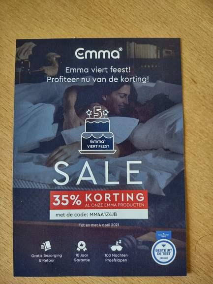 35% korting bij emma-matras.nl (200x90 €296.90)