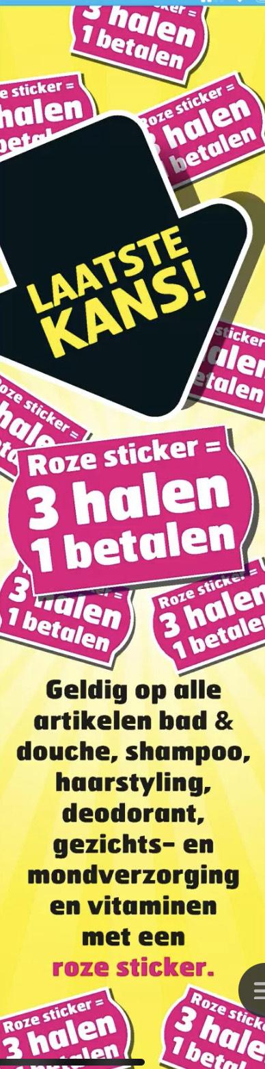 [trekpleister] 3 halen 1 betalen roze sticker producten!