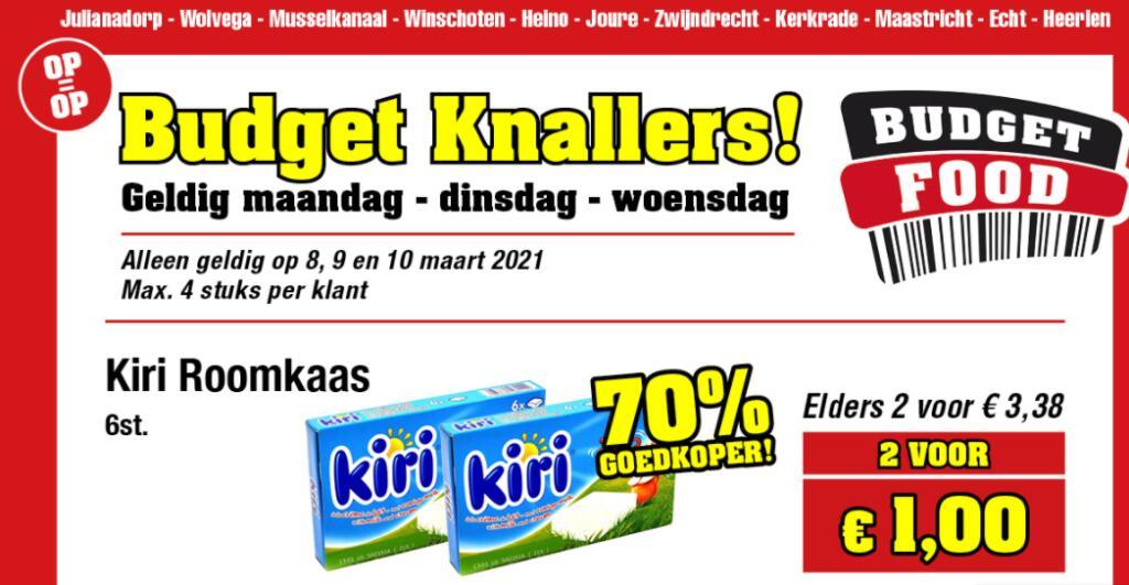 Kiri Roomkaas 12 porties (240g) voor €1 @ Budget-Food