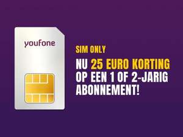 Youfone: €25,00 korting bij 1 of 2 jarig abonnement met ING punten