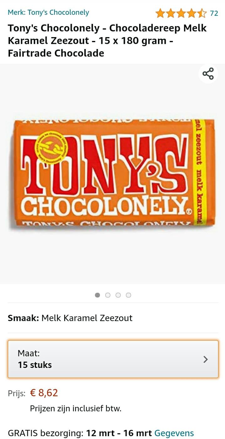 15 x 180 gram Tony's Chocolonely - Chocoladereep Melk Karamel Zeezout