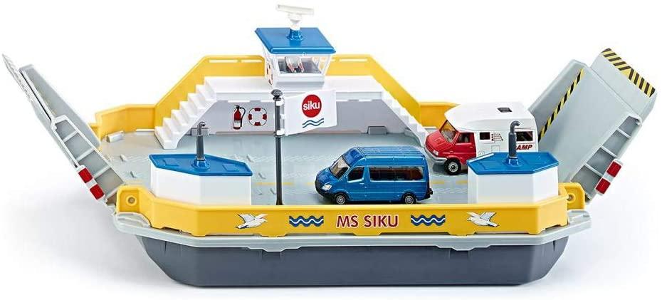 siku drijvende autoveerboot; incl. 2 speelgoedauto's; schaal: 1:50