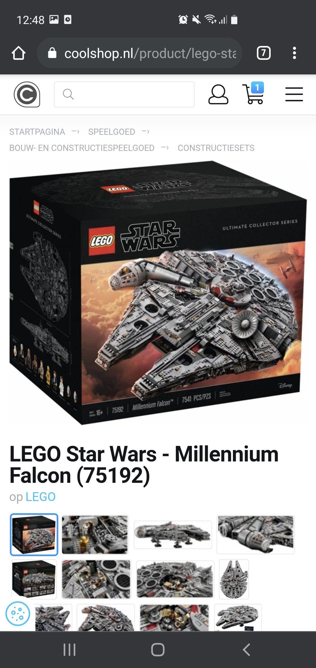 LEGO: Millenium falcon 75192 (€710 inclusief. Verzending)