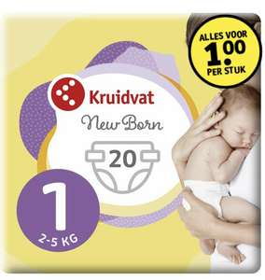 Kruidvat newborn luiers €1,- per pak [Ook geldig op 6 stuks maat 4] @ Kruidvat