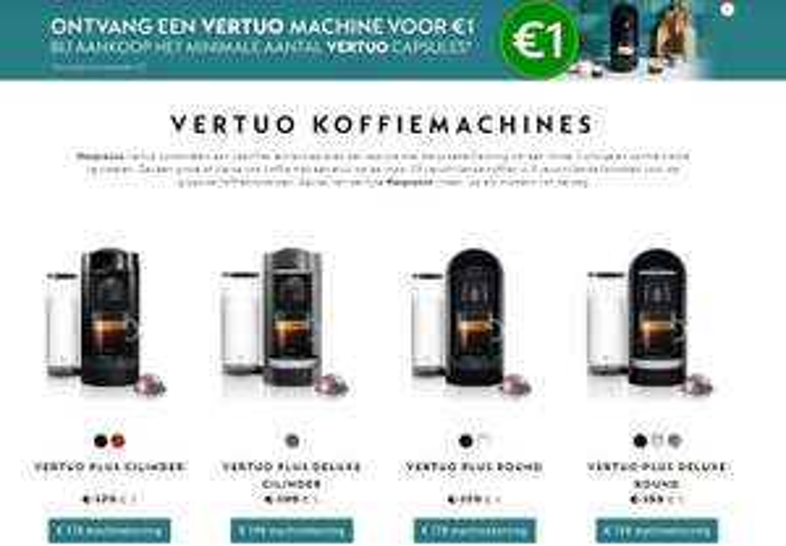 Alle Vertuo koffiemachines voor 1 euro bij aanschaf van capsules