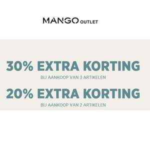 Met code 20-30% EXTRA korting [va 2-3 items] @ MANGO Outlet