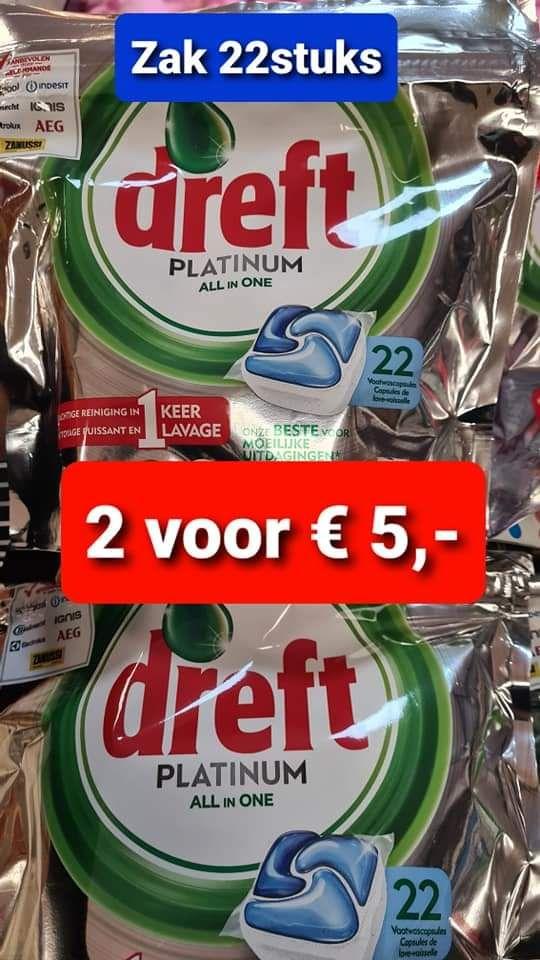 Dreft platinum all in one. 2 zakken 22 st. €5,- (11ct p. st) @Bendi foodcenter Utrecht