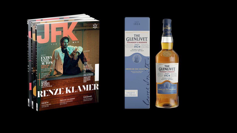 Jaarabonnement op JFK Magazine met Glenlivet Founder's Reserve (70 cl)