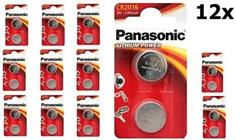 12x 2-pack Panasonic CR2016 knoopcelbatterij