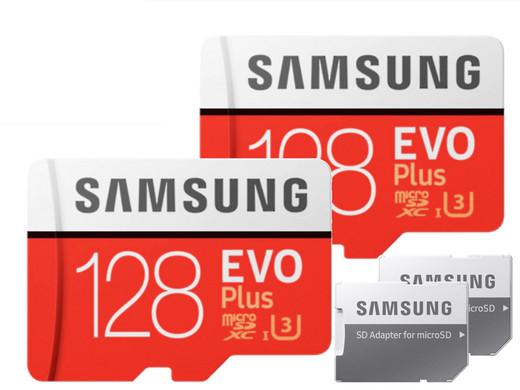 2x Samsung EVO Plus microSDXC Kaart | 128 GB | 2020