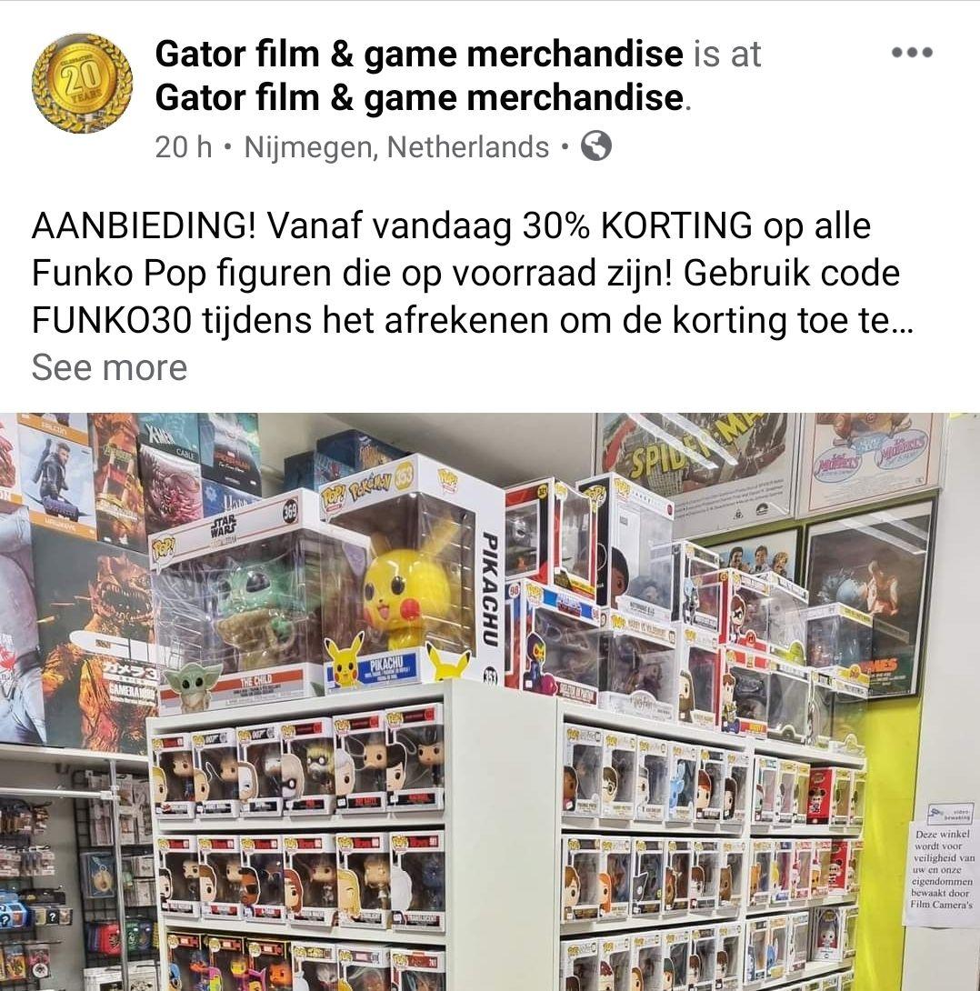 30% korting op ALLE Funko Pop bij Gator.nl