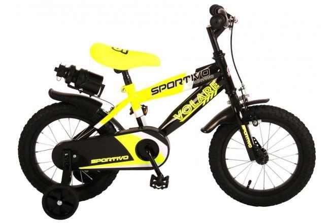 Volare Sportivo Kinderfiets - Jongens - 14 inch - Neon Geel Zwart